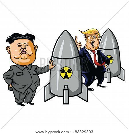 Kim Jong-un vs Donald Trump. Cartoon Vector Illustration. April 28, 2017