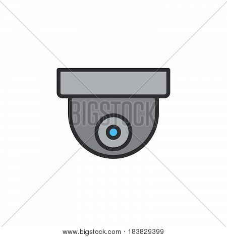 Surveillance dome camera line icon filled outline vector sign linear pictogram isolated on white. Symbol logo illustration. Editable stroke. Pixel perfect