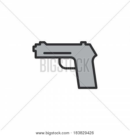 Gun pistol handgun line icon filled outline vector sign linear pictogram isolated on white. Firearm symbol logo illustration. Editable stroke. Pixel perfect