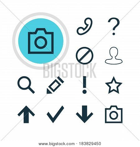 Vector Illustration Of 12 Interface Icons. Editable Pack Of Check, Help, Downward And Other Elements.