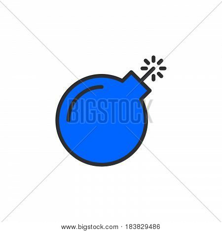Bomb line icon filled outline vector sign linear colorful pictogram isolated on white. Symbol logo illustration. Editable stroke. Pixel perfect