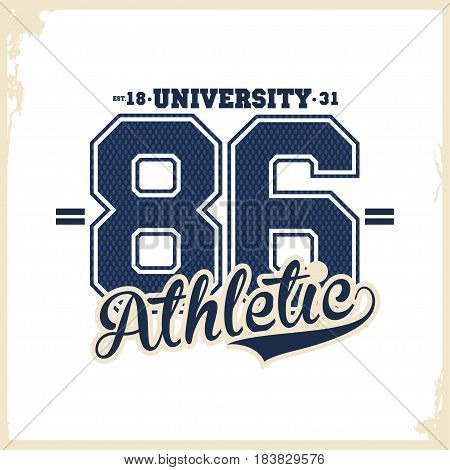 University college typography t-shirt graphics for apparel. Athletic wear. Vector illustration
