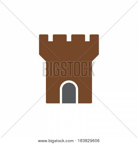 Fortress tower icon vector filled flat sign solid colorful pictogram isolated on white. Symbol logo illustration. Pixel perfect