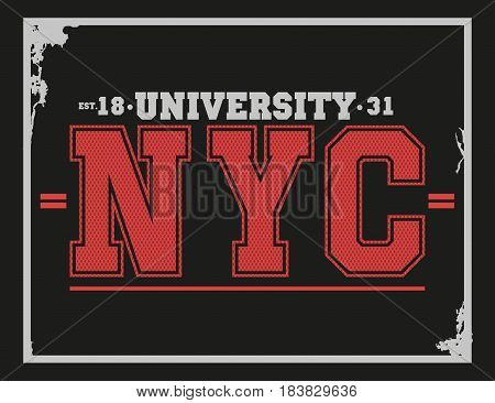 University college New York typography t-shirt graphics. Vector illustration
