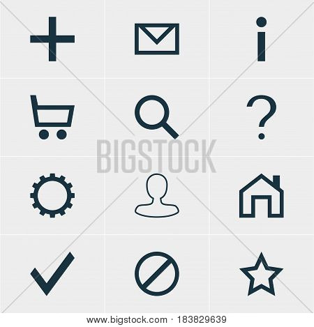 Vector Illustration Of 12 Member Icons. Editable Pack Of Check, Man Member, Info And Other Elements.