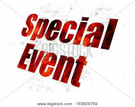 Finance concept: Pixelated red text Special Event on Digital background
