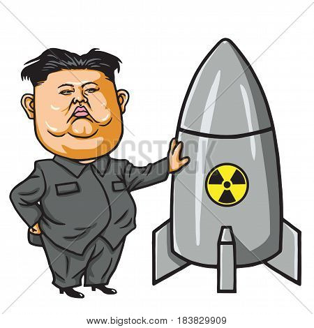 Kim Joung-un with Nuclear Missile Cartoon Vector Illustration. April 28, 2017