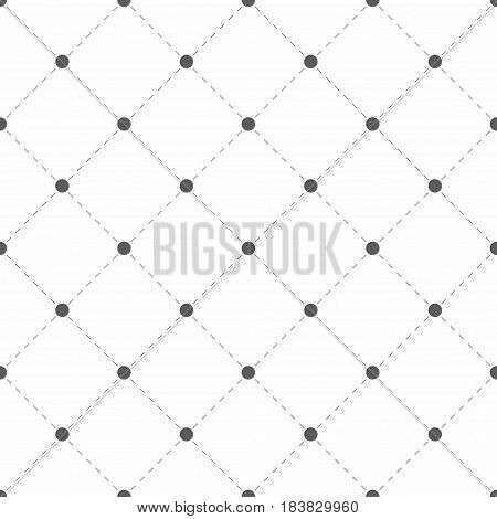 Polka dotted texture with rhombus. Geometric seamless pattern. Dots with dashed lines