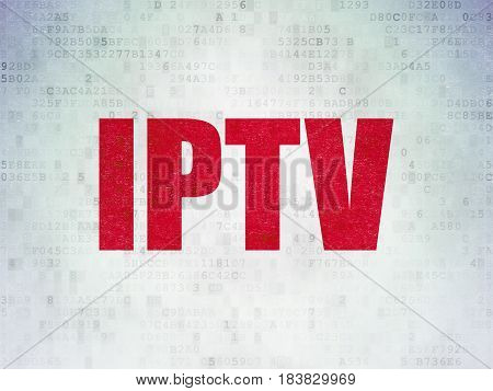 Web design concept: Painted red word IPTV on Digital Data Paper background