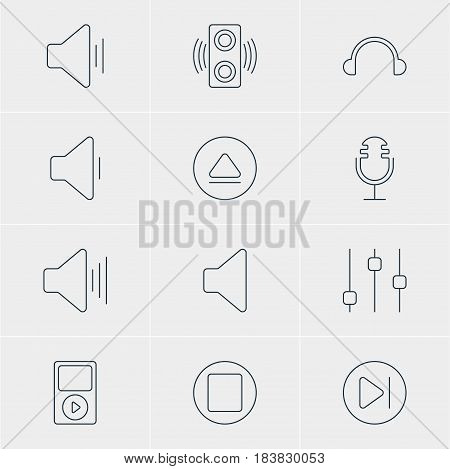 Vector Illustration Of 12 Melody Icons. Editable Pack Of Stabilizer, Mike, Earphone And Other Elements.