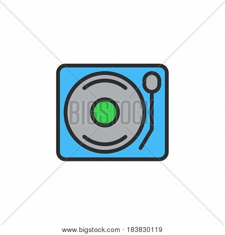 Vinyl turntable record player line icon filled outline vector sign linear colorful pictogram isolated on white. Symbol logo illustration. Editable stroke. Pixel perfect