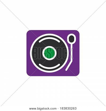 Vinyl turntable record player icon vector filled flat sign solid colorful pictogram isolated on white. Symbol logo illustration. Pixel perfect