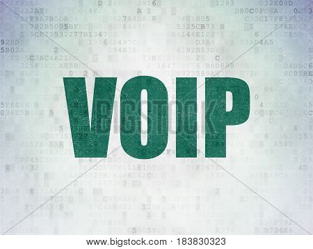 Web design concept: Painted green word VOIP on Digital Data Paper background
