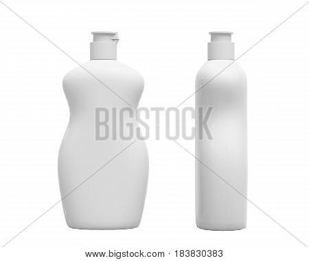 Blank white dish washing liquid package, isolated on white background, 3D rendering