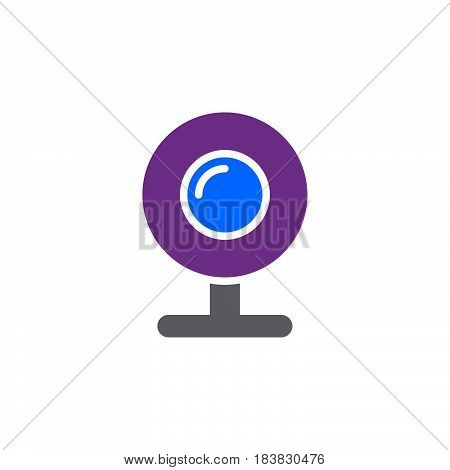 Web camera webcam icon vector filled flat sign solid colorful pictogram isolated on white. Symbol logo illustration. Pixel perfect