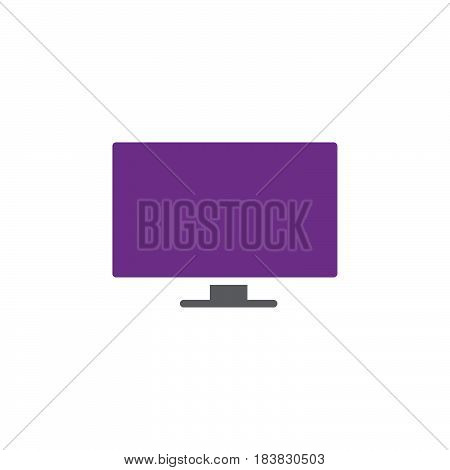 Flat Screen TV icon vector filled flat sign solid colorful pictogram isolated on white. Symbol logo illustration. Pixel perfect