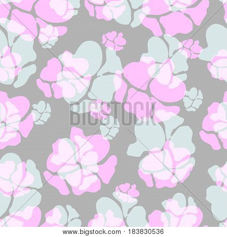 Spring vector floral background. Cute seamless pattern with flowers. Small neutral pink and white flowers on a gray background. The elegant template for fashion prints.