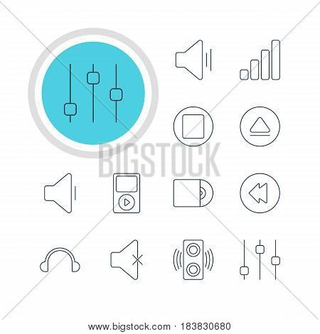Vector Illustration Of 12 Melody Icons. Editable Pack Of Reversing, Amplifier, Earphone And Other Elements.