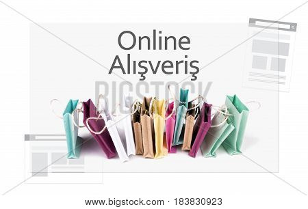 Online alışveriş (Online shopping) in Turkish language. E-commerce online shopping concept. Miniature of reusable grocery bags.
