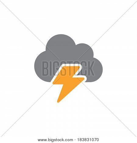 Cloud lightning icon vector filled flat sign solid colorful pictogram isolated on white. Symbol logo illustration. Pixel perfect
