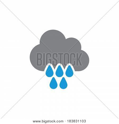 Cloud rain icon vector filled flat sign solid colorful pictogram isolated on white. Symbol logo illustration. Pixel perfect