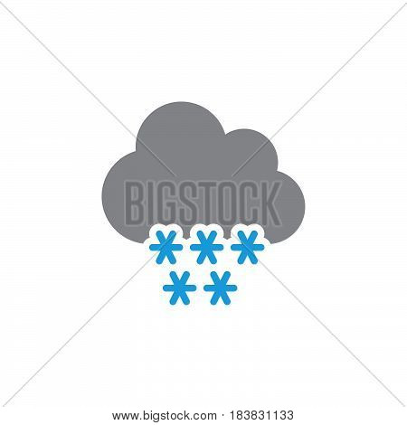 Cloud snow icon vector filled flat sign solid colorful pictogram isolated on white. Winter symbol logo illustration. Pixel perfect