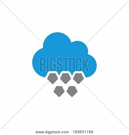 Cloud hail icon vector filled flat sign solid colorful pictogram isolated on white. Symbol logo illustration. Pixel perfect