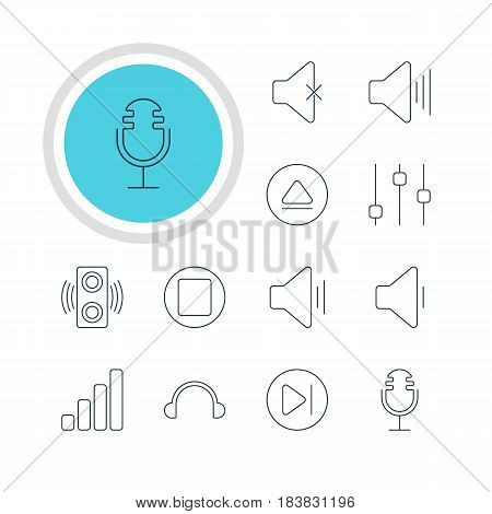 Vector Illustration Of 12 Melody Icons. Editable Pack Of Rewind, Amplifier, Stabilizer And Other Elements.