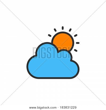 Cloud and sun line icon filled outline vector sign linear colorful pictogram isolated on white. Partly cloudy weather symbol logo illustration. Editable stroke. Pixel perfect