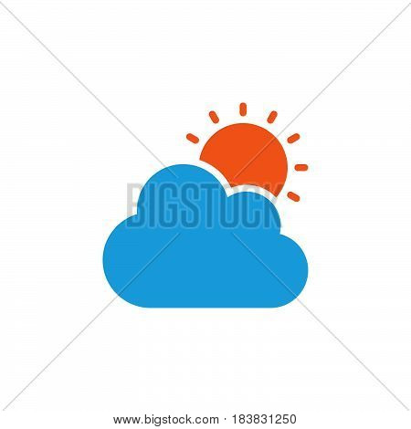 Cloud and sun icon vector filled flat sign solid colorful pictogram isolated on white. Partly cloudy weather symbol logo illustration. Pixel perfect