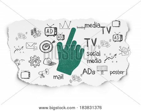 Advertising concept: Painted green Mouse Cursor icon on Torn Paper background with  Hand Drawn Marketing Icons