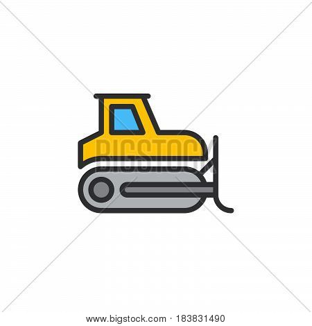 Bulldozer crawler line icon filled outline vector sign linear colorful pictogram isolated on white. Symbol logo illustration. Editable stroke. Pixel perfect