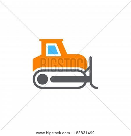 Bulldozer crawler icon vector filled flat sign solid colorful pictogram isolated on white. Symbol logo illustration. Pixel perfect