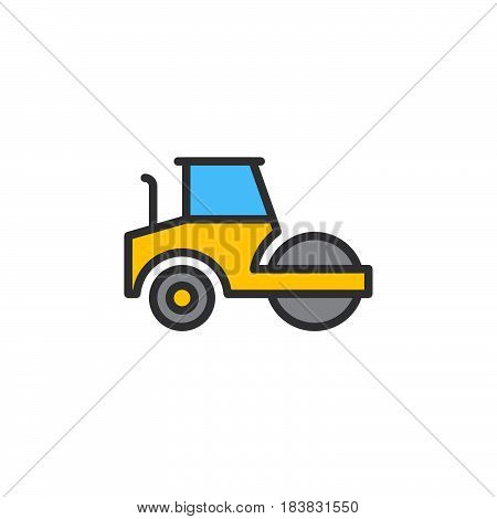 Road roller steamroller line icon filled outline vector sign linear colorful pictogram isolated on white. Symbol logo illustration. Editable stroke. Pixel perfect