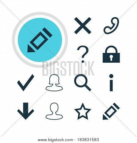 Vector Illustration Of 12 Member Icons. Editable Pack Of Pen, Man Member, Downward And Other Elements.
