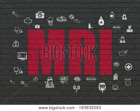 Health concept: Painted red text MRI on Black Brick wall background with  Hand Drawn Medicine Icons