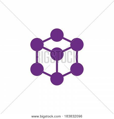 Molecule cube icon vector filled flat sign solid colorful pictogram isolated on white. Symbol logo illustration. Pixel perfect