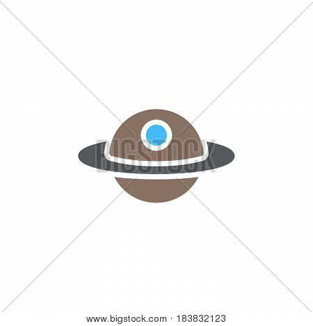Unidentified flying object or UFO icon vector filled flat sign solid colorful pictogram isolated on white. Alien space ship symbol logo illustration. Pixel perfect