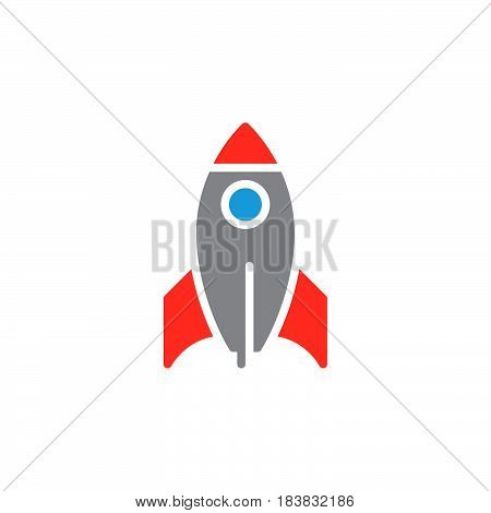 Rocket icon vector filled flat sign solid colorful pictogram isolated on white. Startup symbol logo illustration. Pixel perfect
