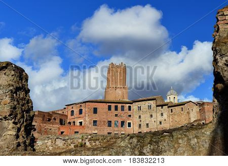 Ancient Tower of the Militia built over Trajan's Market in the Middle Ages viewed from Imperial Forum ruins in Rome