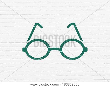 Science concept: Painted green Glasses icon on White Brick wall background