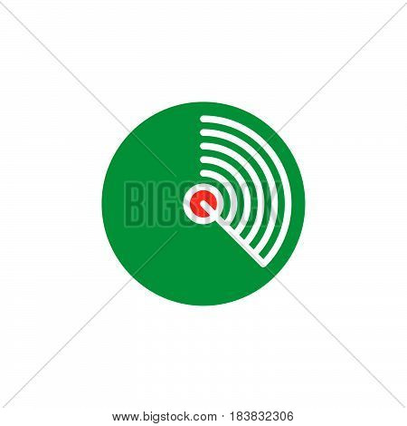 Radar icon vector filled flat sign solid colorful pictogram isolated on white. Symbol logo illustration. Pixel perfect
