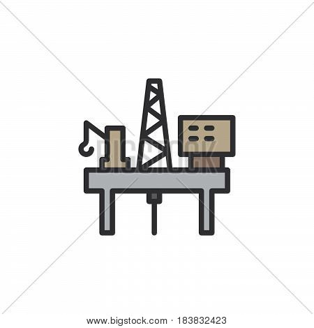 Oil platform rig line icon filled outline vector sign linear colorful pictogram isolated on white. Symbol logo illustration. Editable stroke. Pixel perfect