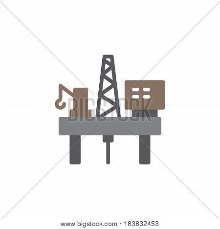 Oil platform icon vector filled flat sign solid colorful pictogram isolated on white. Symbol logo illustration. Pixel perfect