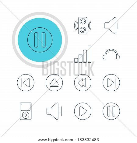 Vector Illustration Of 12 Melody Icons. Editable Pack Of Mp3, Preceding, Audio And Other Elements.