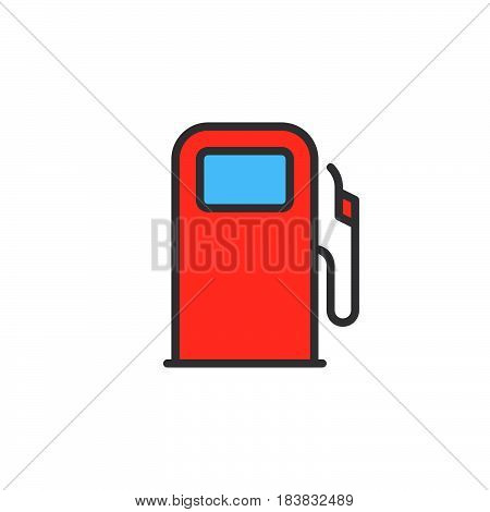 Gas station fuel dispenser line icon filled outline vector sign linear colorful pictogram isolated on white. Symbol logo illustration. Editable stroke. Pixel perfect
