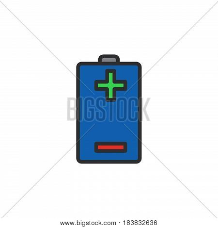 Battery plus minus line icon filled outline vector sign linear colorful pictogram isolated on white. Symbol logo illustration. Editable stroke. Pixel perfect