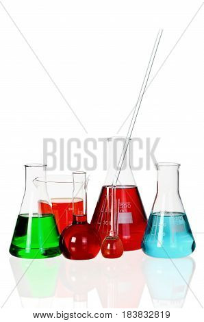 Conical Flasks and Beakers with Liquid - Isolated