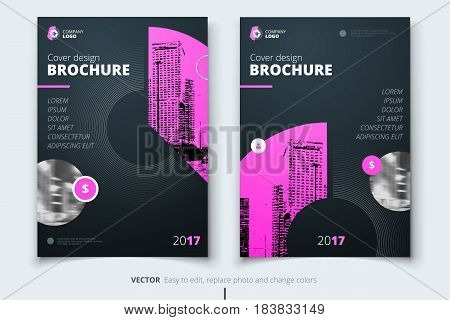 Brochure design. Corporate business report cover, brochure or flyer design. Leaflet presentation. Flyer with abstract circle, round shapes background. Modern poster magazine, layout, template. A4.