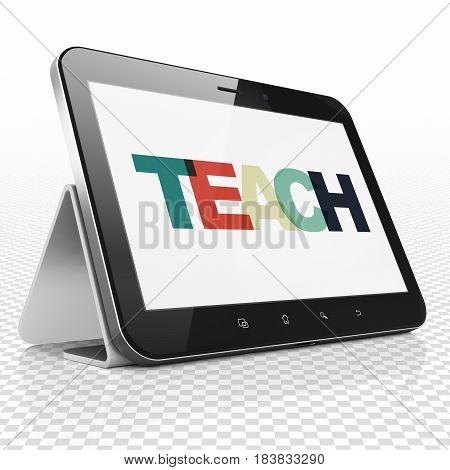 Studying concept: Tablet Computer with Painted multicolor text Teach on display, 3D rendering